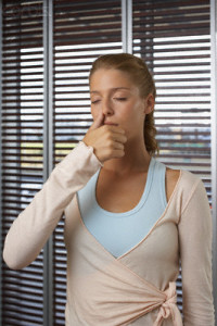 Woman Practicing Yoga Breathing